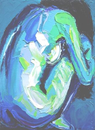 "Femme 114, by Aja Trier. Oil on canvas, 5""x 7"""